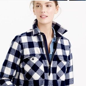 J Crew buffalo check blue and ivory pullover